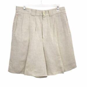 Vtg Casual Corner Shorts 14 Linen High Waist Pleated Wide Leg Beige