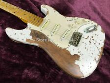 Top Quality Hardmade White Relic ST Electric Guitar 3 Pickups Free Shipping