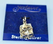 JEZLAINE STERLING SILVER 3D PRESENT CHARM OPENS w/ RING INSIDE ON ORIGINAL CARD