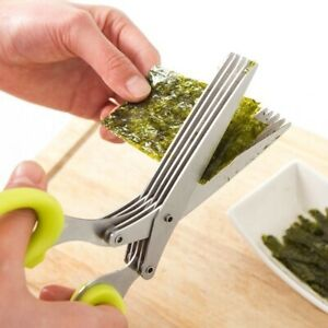 Stainless Steel 5 Blade Office Cut Shredding Scissors Sharp Herb Kitchen Tool