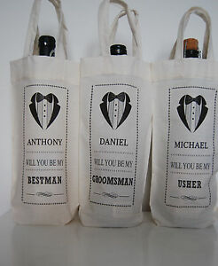 Bottle Bag Personalised Gift Cotton,Bestman-Usher-Groomsman,Father of the Bride