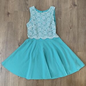 RIVER ISLAND 12 Fit 10 Dress Fit Flare Skater Lace Stretch Mint Green Retro