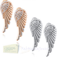 18K White Rose GOLD Plated GP Angel Wing Swarovski Crystal Earrings New in Box