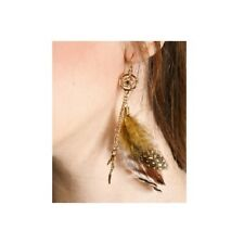 Gp Feather Charms Earrings*Rare Disney Couture Pocahontas Natural Feathers/14Kt