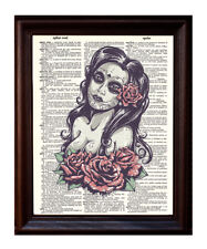 Day of the Dead Girl Color - Dictionary Art Print Printed On Authentic Vintage