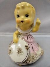 Vintage 1950's Japan Bell Miniature Blonde Girl Hat Figurine Spaghetti Trim