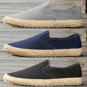 Mens Vintage Fisherman shoes Weave Slip-On Loafers Breathable Casual Drive shoes