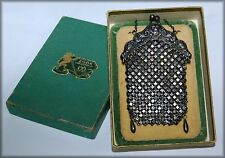 ANTIQUE REPOUSSE' STERLING MESH CHATELAINE ART NOUVEAU PURSE ~  ZOOK JEWELRY BOX