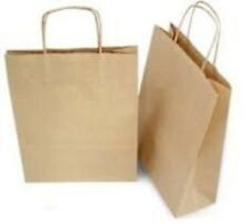 50 10x5x13 Paper Gift Bags Brown With Handle Shopping Bags | eBay