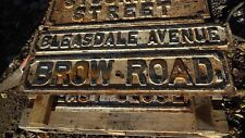 """Victorian cast iron street sign """" BROW ROAD """""""