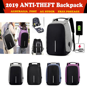 AU STOCK Anti-Theft Backpack USB Port Water Resistant Travel Laptop  School Bag