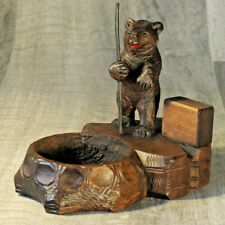 Antique Black Forest Bear Matchbox and Tray - Great Walking Character Piece