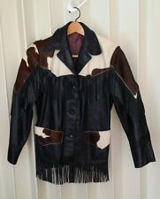 vintage cowhide calf pony hair fur fringe motorcycle leather jacket XS S small