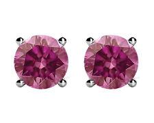 0.30 CT Round Cut Pink Diamond Stud Earrings14k WG HPHT  Valentine Day Spl.Sale