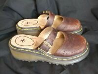 Dr Martens Brown Leather Mary Jane Slide Sandals Womens Sz.4/6 US Slip On Shoes