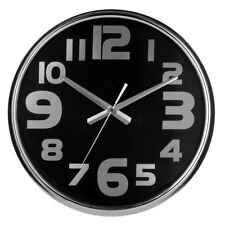 Premier Housewares Wall Clock, Stainless Steel/Black Face