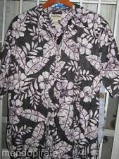 2XL Hawaiian Shirt Black ISO Purple White Flowers Leaves  Pre owned