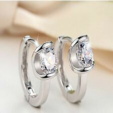 Hook For Girl Women Fashion Ear Studs Zircon Earring Silver Plated Crystal