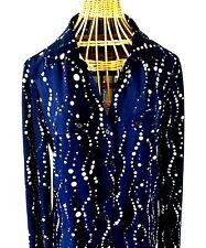 Isabella Rodriguez Women's Button Up Shirt Blouse Blue & White Size Large