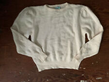 Vtg Benetton Cream Ivory Sweater Puff Sleeve Angora Blend Made In Italy Sz 46