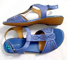 NATURALIZER N5 CONTOUR NETWORK Blue Leather Sandals Comfort Size 12 WW EX Wide