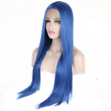"24"" Natural Straight Lace Front Wig Full Head Blue Synthetic Fiber Hair"