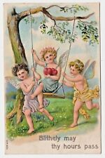 Lovely Embossed Child Angels on Swing w Red Hearts Vintage Postcard ser 624