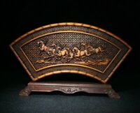 natural boxwood hand carve Eight horses Running horse statue Hollow out screen