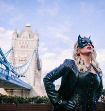 Catwoman Máscara-Fetiche ojo máscara de cuero, ajustable correa de cuero, Negro