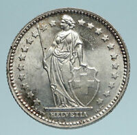 1945 SWITZERLAND - SILVER 1 Franc Coin - HELVETIA Symbolizes SWISS Nation i83310