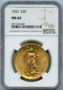 1922 Twenty Dollar $20 Saint Gaudens Double Eagle NGC 64