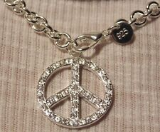 Peace Sign Chunky Bohemian  Statement Pendant Necklace 925 Silver