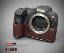 LIM'S Genuine Leather Camera Half Case Dovetail Plate for Canon EOS R6 Brown
