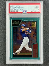 """2001 Topps Limited Edition  Sammy Sosa  """"League Leaders""""  PSA 9  Chicago Cubs"""
