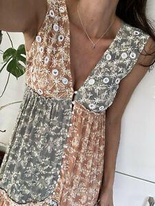 Kleid Maxi 36 S Neu Hippie Khaki Braun  Gemustert