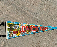 Vintage Imprint Art South Carolina Pennant Landmarks Tobacco Cotton 24""