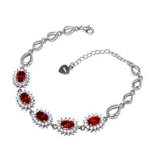 "Garnet & White Topaz Cluster Gemstone 925 Sterling Silver Bracelet 7-8"" B690-204"