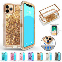 For iPhone 11 Pro Max Glitter Liquid Quicksands Case TPU Rubber Cover XS XR 8 7