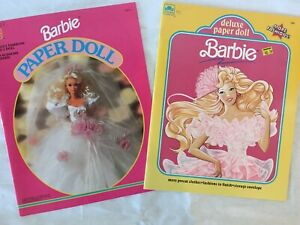 Set Of Two VINTAGE BARBIE Paper Doll Books Golden Book Uncut Intact
