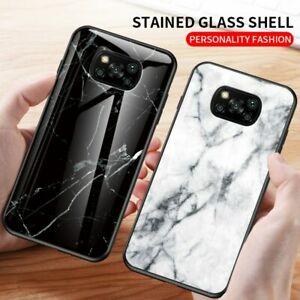 For Xiaomi POCO X3 NFC Luxury Marble Tempered Glass Phone Back Case Hybrid Cover