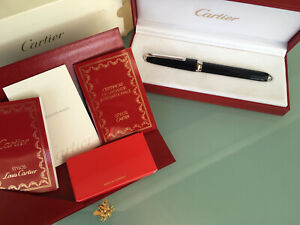 CARTIER LOUIS CARTIER BLACK COMPOSITE GODRON FOUNTAIN PEN PLATINUM TRIM NEW COND