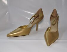 "Colin Stuart antique gold leather pointy-toe hi-heel pump - Size 11 w/4"" heel"