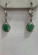 14k Solid White Gold Dangle Leverback Earrings W/ Natural Emerald Oval Cut1.50GM