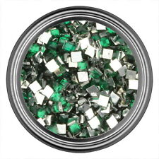 Green Square Rhinestone Gems Flat Back Face Art Nail Art Jewels Decoration 2mm