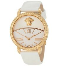 New Versace Women's Krios White Enamel Sunray Dial Leather Watch S001 93Q80D002