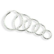 Sterling Silver 2mm Diamond Cut Round Hoop Earrings, Choose A Size & Color
