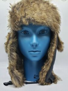 Tough Outfitters Trapper Hat Gray Aviator Winter Cap Faux Fur Earflaps Ushanka