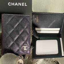 CHANEL 19S Iridescent Black Caviar Card Holder ID Wallet Mermaid Rainbow Ltd Ed