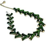 Vintage Thermoset Chevron Panel Link Necklace Dark Green Mid Century Gold Tone