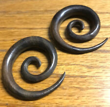 PAIR 00G (10MM) SUPER SPIRALS SONO WOOD STRETCHERS TALONS PLUGS EAR PLUG
